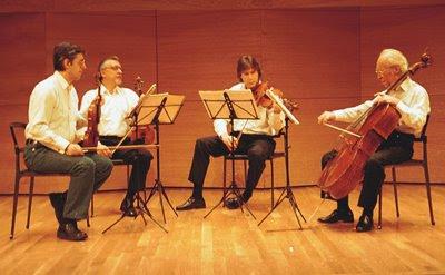 El Cuarteto Borodin en el año 2001, todavía con valentín Berlinsky como violonchelista (© Juan Carlos Ortiz / Diario de Sevilla)