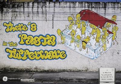 GE refrigerator graffiti ad