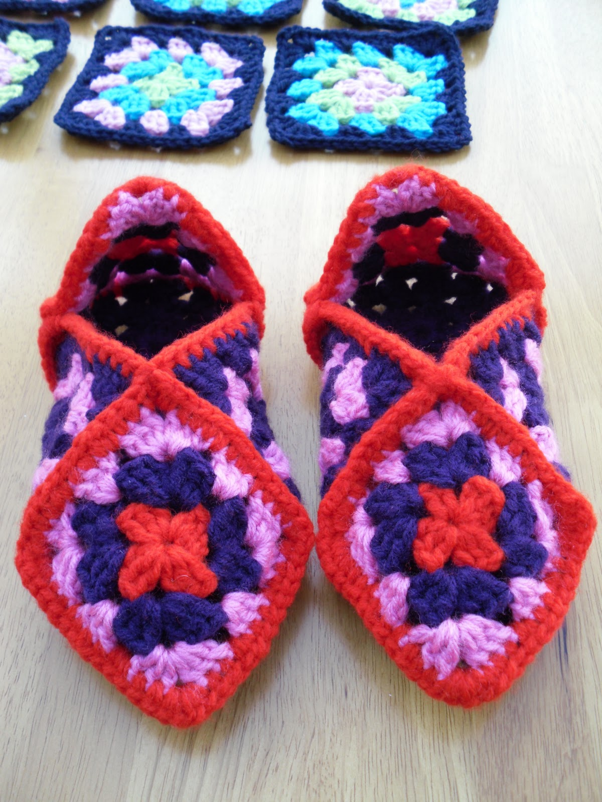 Crochet Granny Square Slipper Pattern : The Craft Attic: Crochet Granny Square Slippers