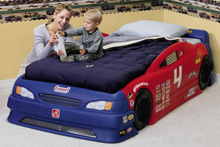 FS: Toddler Stock Car Convertible Bed - $100