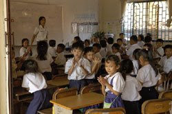 Kids in a classroom. Wat Bo teaches kids in 1st-6th grades