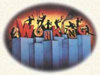 Working Logo - large block letters WORKING with people on top of the letters showing different types of work