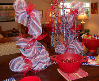 Red, White and Blue Topiary Tablescape