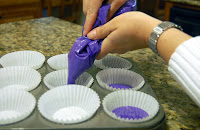 purple batter into liners