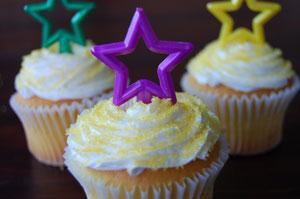 Mardi Gras star cupcakes