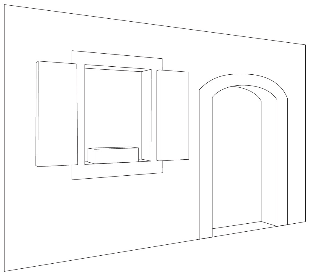 Open door drawing perspective -  Half Open Door Drawing