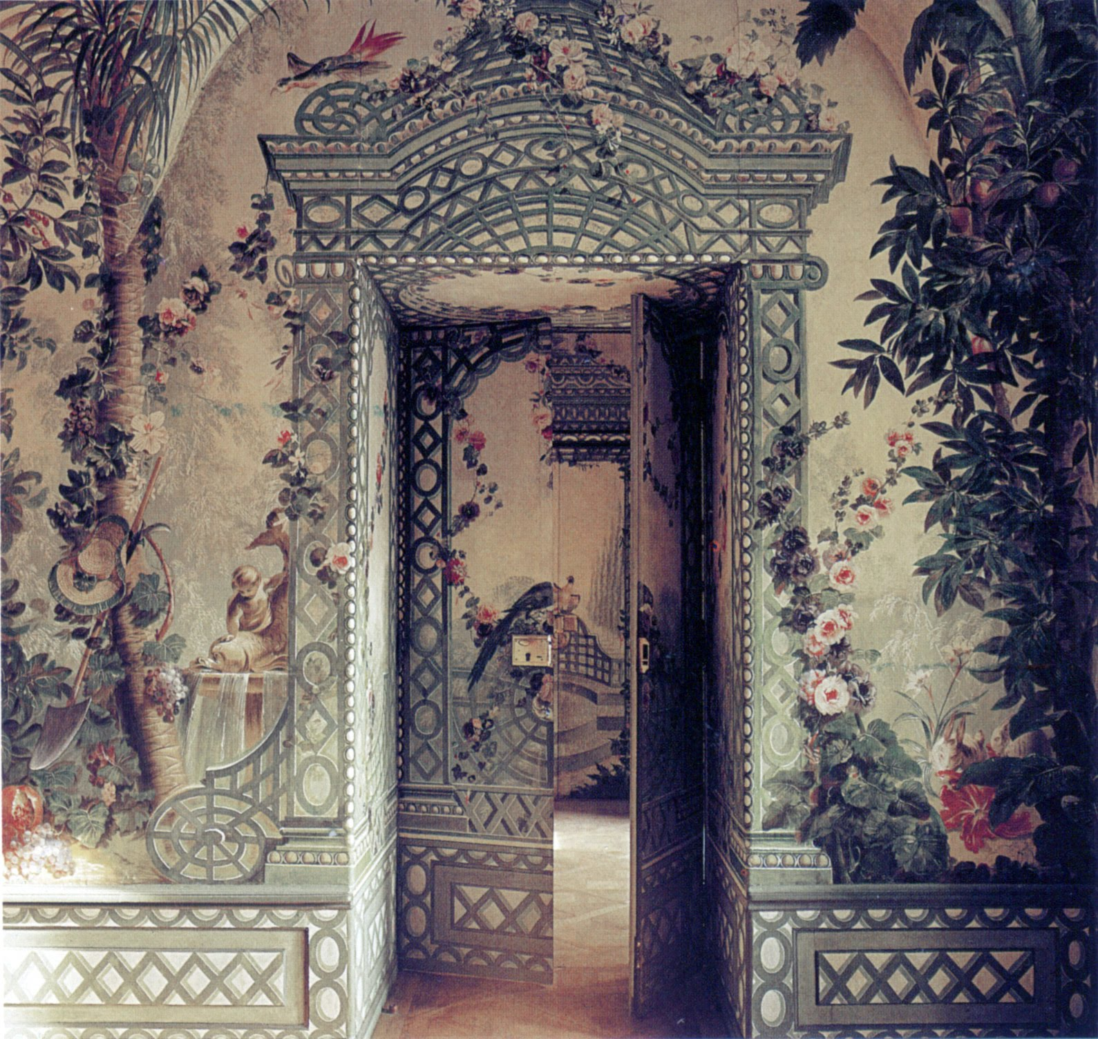 Wallpaper wallpaper door murals for Antique mural wallpaper