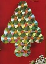 Arbol de Navidad de pared con CD's reciclados y luces