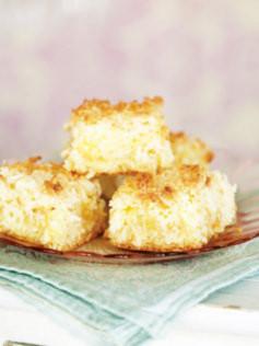 Cuadraditos de limon y coco (receta dulce)