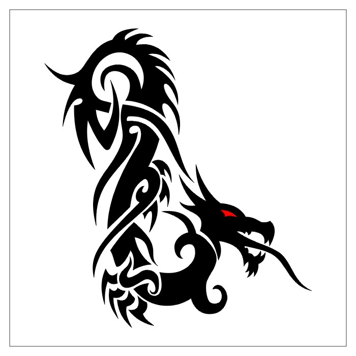 Black Tribal Dragon Tattoo on Back