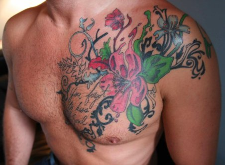 Floral Chest Tattoo Designs Floral chest piece tattooed by Friday Jones.