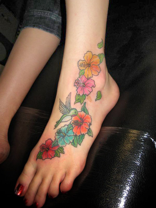 Tattoos pictures beautiful flower foot tattoos red color for Beautiful colorful flower tattoos