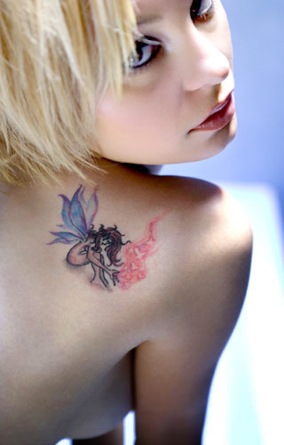 Losing naked girl with butterfly tattoo using