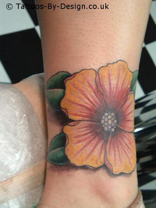 Red foot hibiscus flower tattoos for women collections