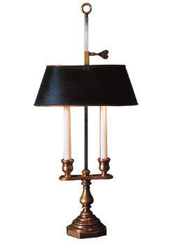 The peak of chic bouillotte lamps on those lamps that have two candleholders the shade is rather elongated but on the three to four arm lamps the shade tends to be more conical aloadofball Choice Image