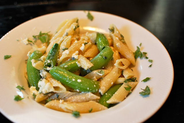 Pasta With Sugar Snap Peas, Feta & Mint