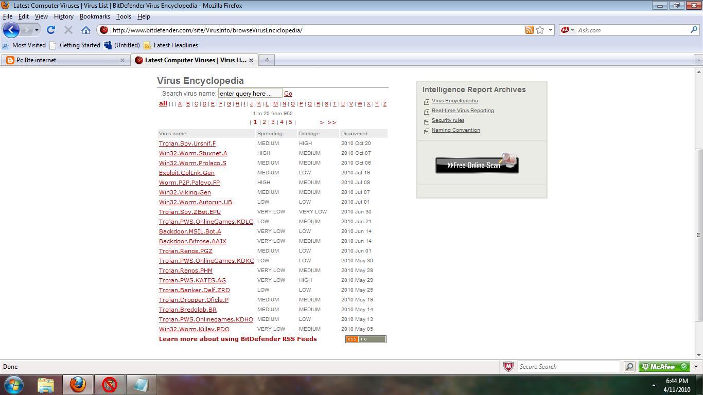 Pc Bte Internet 2010 Anti Virus Mcafee Security 3 Tahun 1 User Viruses Detected By Bitdefender