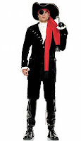 7PC Halloween Pirate Captain Includes Hat Scarf Hook Ruffled Shirt Velvet Coat Boot Cover