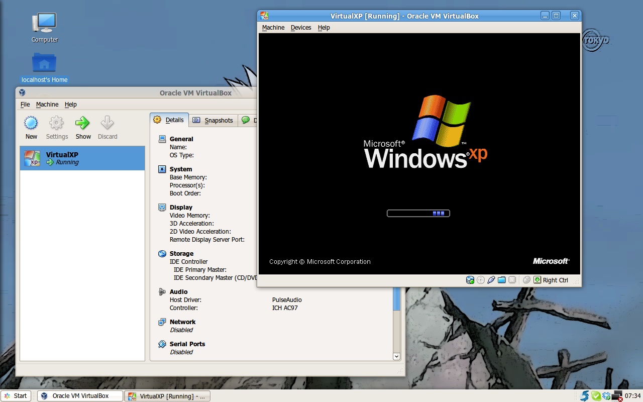 Windows XP berjalan secara virtual di Ubuntu