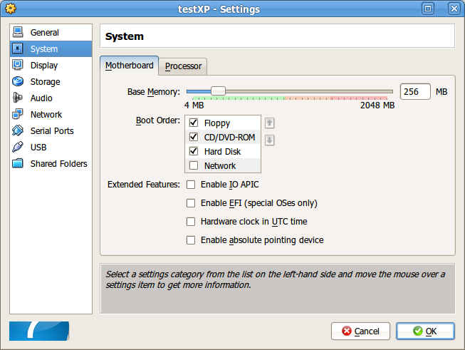 Jendela setting di VirtualBox