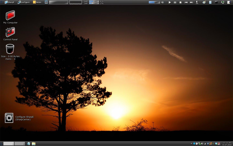 Tampilan desktop dengan SharpEnviro