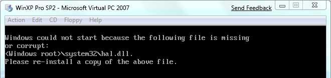 Salah satu pesan error ketika memulai Windows