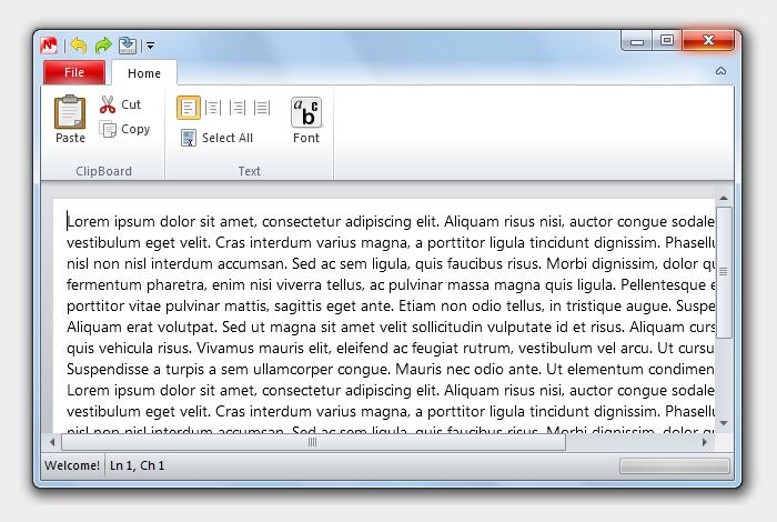 FluentNotepad: Notepad dengan sensasi Office 2010