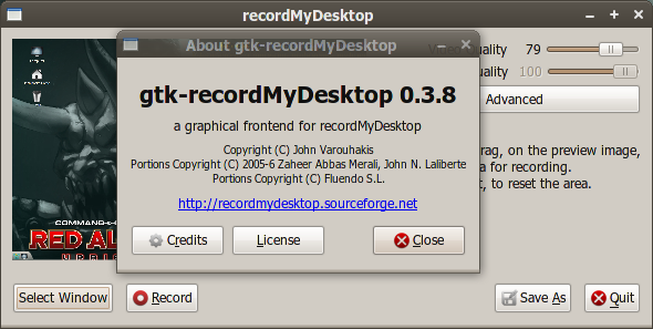 Jendela About gtk-recordMyDesktop