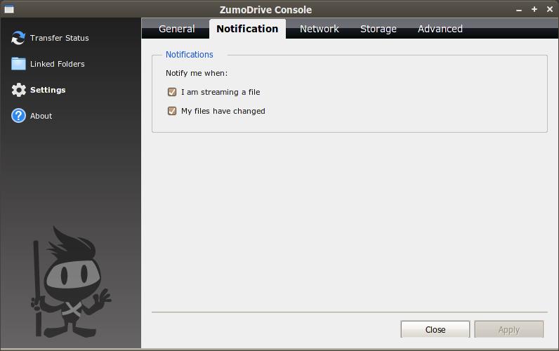 Jendela konfigurasi aplikasi klien di Ubuntu