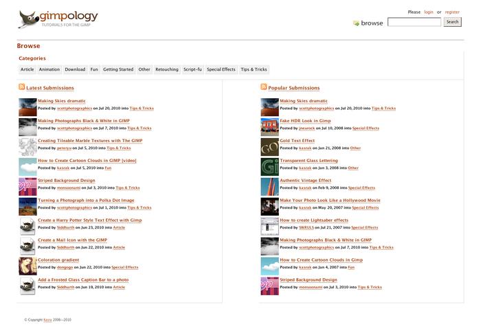 Tutorial Gimpology dibagi menjadi beberapa kategori