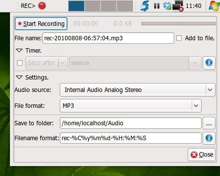 Jendela konfigurasi rec-applet