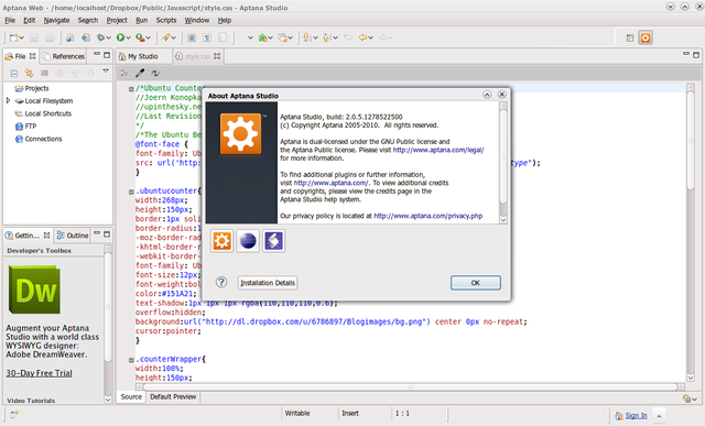 Aptana Studio 2 di Ubuntu 10.04 Lucid Lynx
