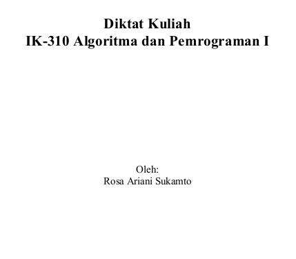 Ebook referensi Algoritma dan Pemrograman