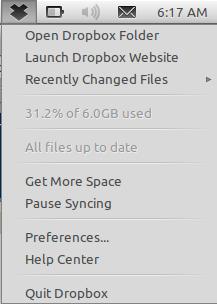 AppIndicator untuk Dropbox