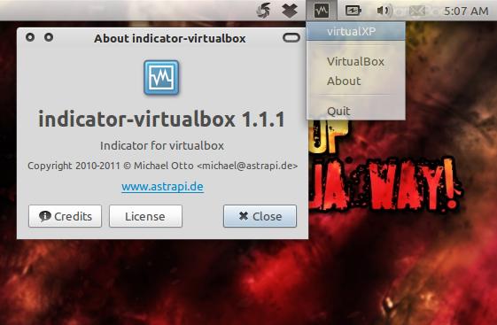 Indicator-VirtualBox: Jalankan OS dengan satu klik