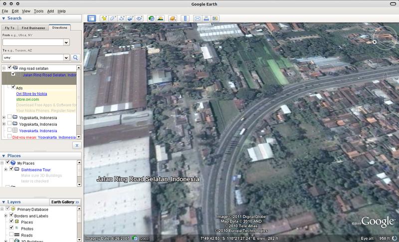 Google Earth 6 di Ubuntu 10.10 Maverick Meerkat