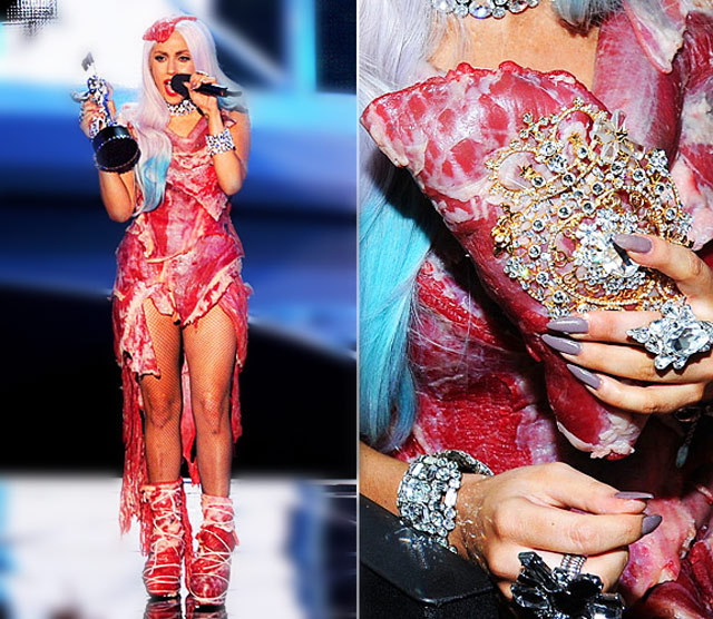 was lady gaga meat dress real. Lady Gaga in Franc Fernandez