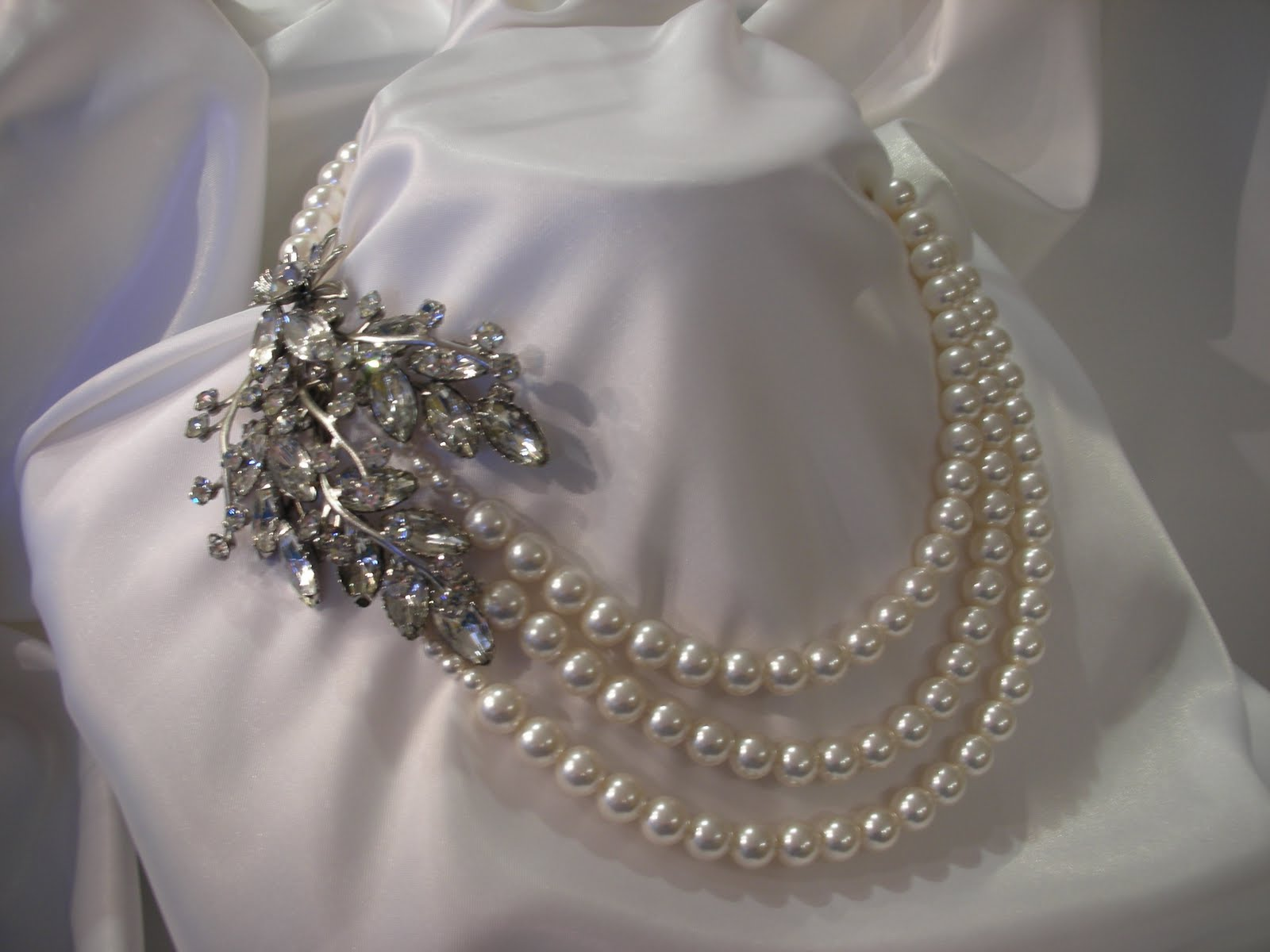 Everything But The Dress: Pearl & Vintage Crystal Necklaces