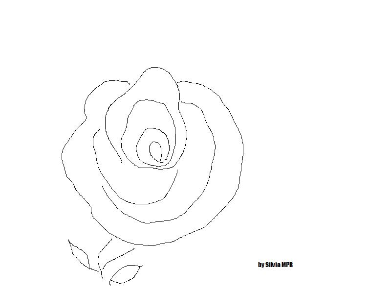 Dibujos e Imagenes - Easy coloring pages: Una rosa para colorear