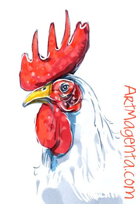 Rooster is a sketch by Artmagenta