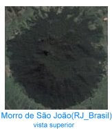 Vista superior do Vulcão extinto no Morro de São João no Rio de Janeiro - Brasil.