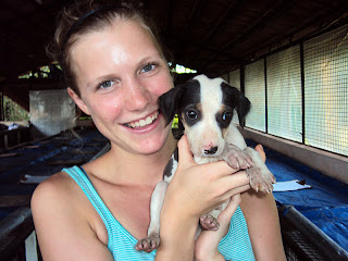 Volunteer Stephanie and puppy