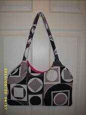 Black and White Shape Purse with Hot Pink Lining