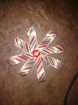 Candy Cane Ribbon Flower Bow