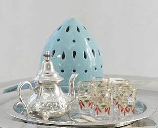 moroccan tea setting, glasses, silver tea tray, silver teapot,