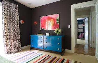 Brown + blue bedroom, bedroom, interior design, home interior