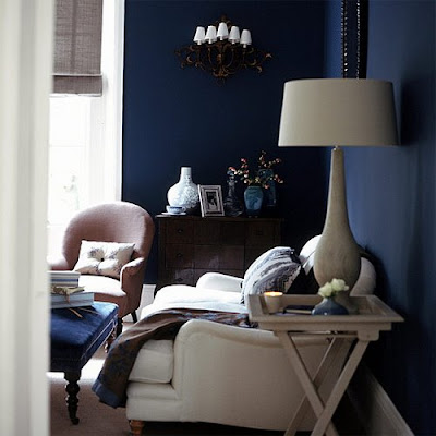 Midnight blue living room and white accents, living room, lamp, interior design