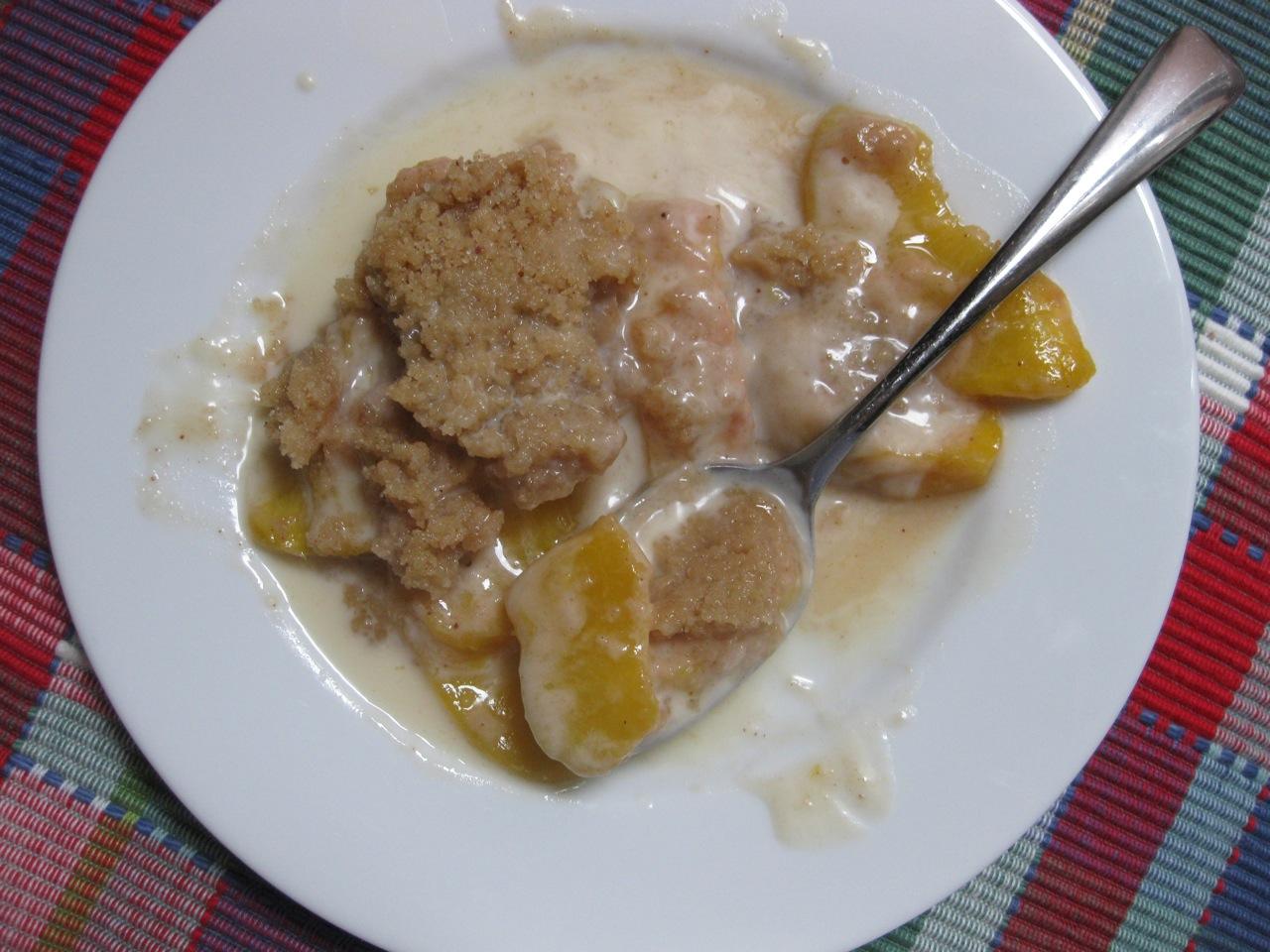 Sunday Treats: Peach Crisp with Maple Cream Sauce, and a song