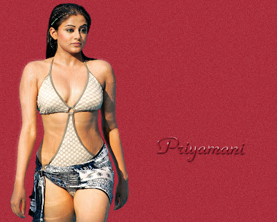 South indian sexy actress Priyamani's bikini wallpapers.