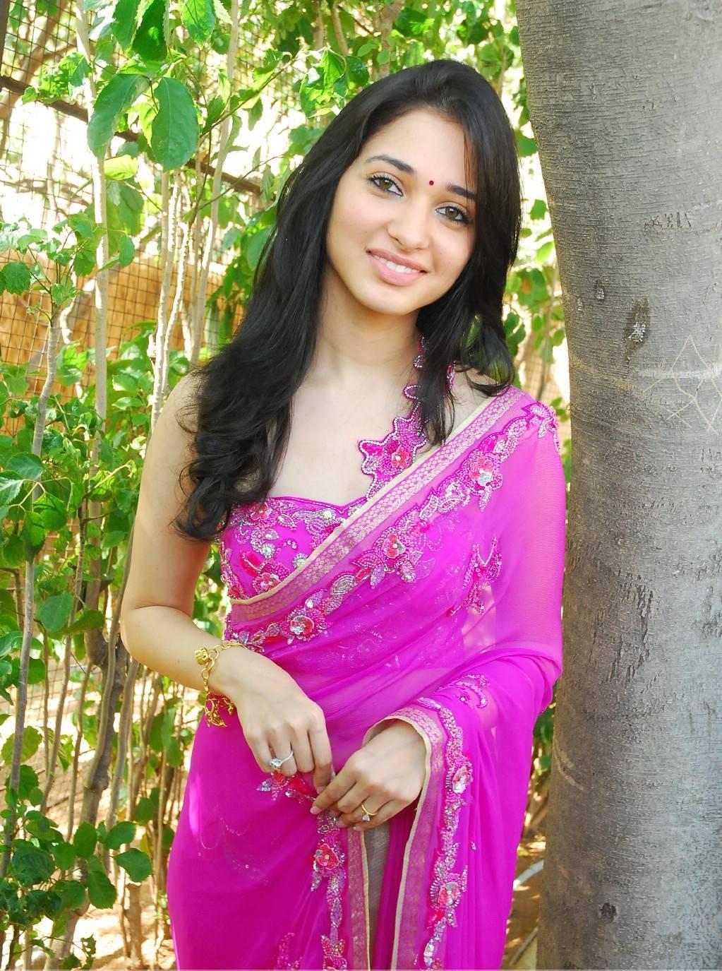 cute actress tamanna in pink designer saree   glamorous bollywood